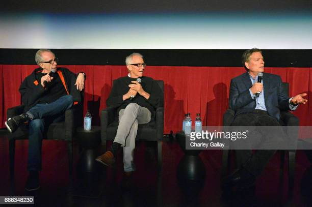 Film producer Jerry Zucker and directors Jim Abrahams and David Zucker speak onstage at the screening of 'Top Secret' during the 2017 TCM Classic...