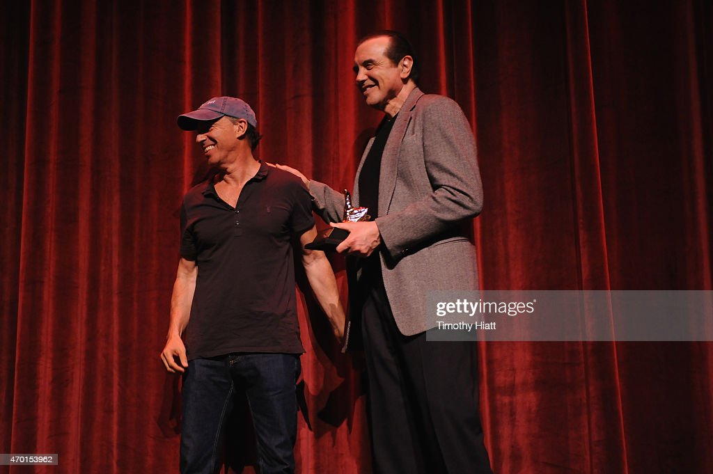 Film producer Jon Kilik and actor Chazz Palminteri receive Golden Thumb awards onstage at the 'A BRONX TALE' Screening at Virginia Theatre during...