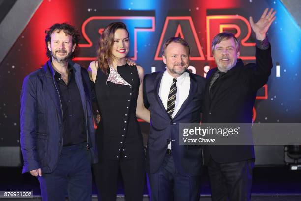 Film producer Ram Bergman film director Rian Johnson and actor Mark Hamill attend the 'Star Wars The Last Jedi' fan event black carpet at Oasis...