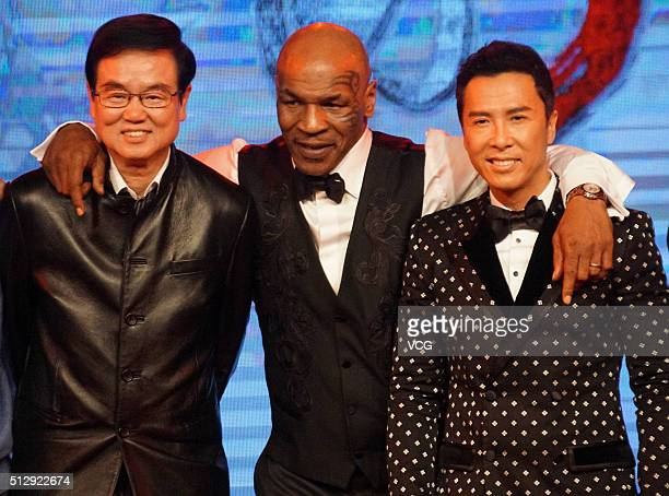 Film producer Raymond Wong Bakming former heavyweight boxing champion Mike Tyson and actor Donnie Yen attend the premiere of director Wilson Yip's...