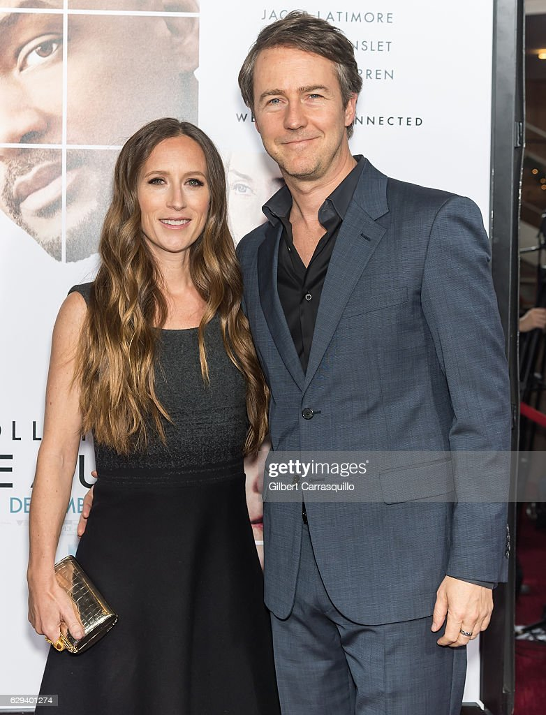 Film producer Shauna Robertson and actor Edward Norton wearing Prada attend 'Collateral Beauty' World Premiere at Frederick P. Rose Hall, Jazz at Lincoln Center on December 12, 2016 in New York City.