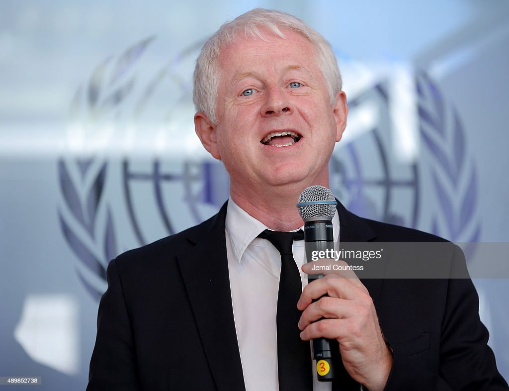 Film producer/director Richard Curtis speaks at the premiere of Global Goals 60 second Cinema Ad at the United Nations on September 24, 2015 in New York City.
