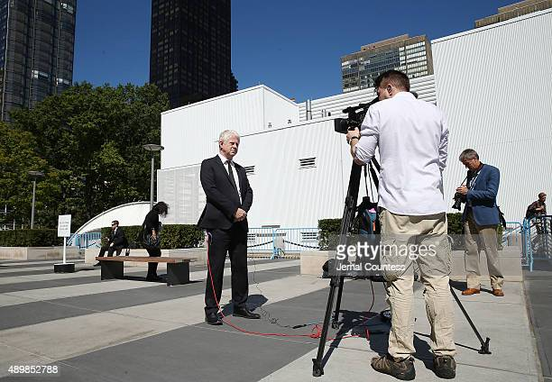 Film producer/director Richard Curtis speaks to the media at the premiere of Global Goals 60 second Cinema Ad at the United Nations on September 24...