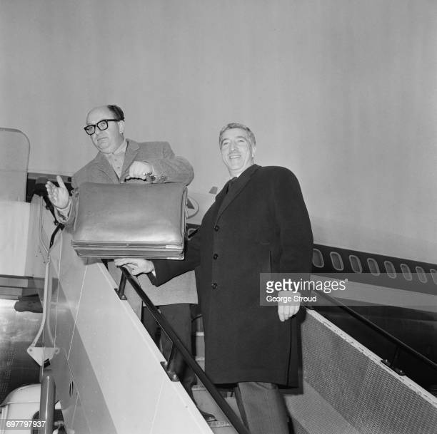 Film producers Tony Tenser and Michael Klinger of Compton Films leave London Airport for America 12th February 1966