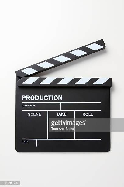 Film production clapperboard on a white background