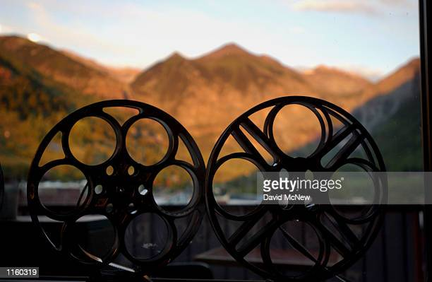 Film reels lean against a window on opening day of the 28th Telluride Film Festival August 28 2001 in Telluride CO
