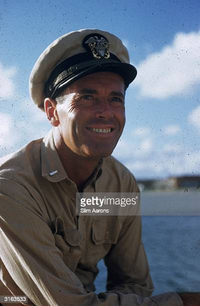 Film star Henry Fonda in uniform for his part of Lt Doug Roberts in the film 'Mister Roberts' on location in Hawaii
