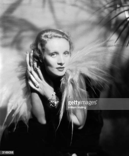 Film star Marlene Dietrich wearing a dress with long feathers round the neckline
