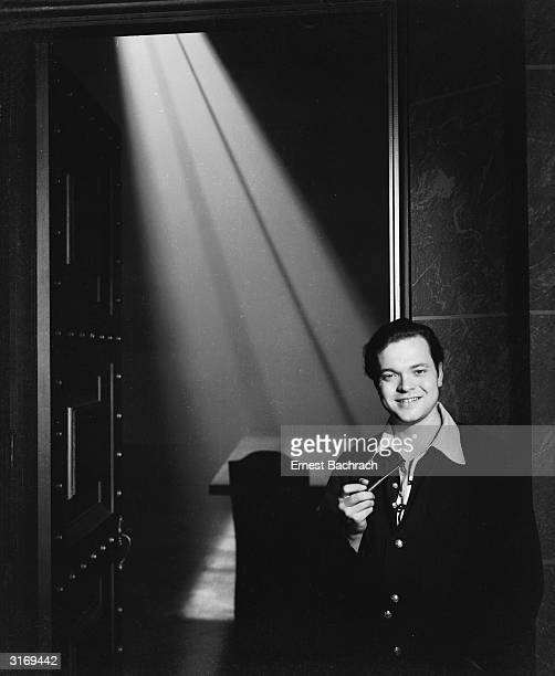 Film star Orson Welles on the set of RKO's 'Citizen Kane' which he cowrote directed and starred in