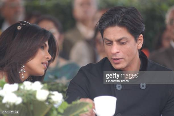 Film star Shahrukh Khan and Priyanka Chopra watching a polo match at Jaipur polo ground in New Delhi on Sunday
