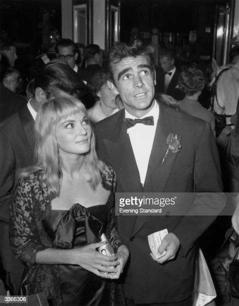 Film stars Sean Connery and Diane Cilento at a premiere of 'Sleeping Beauty'