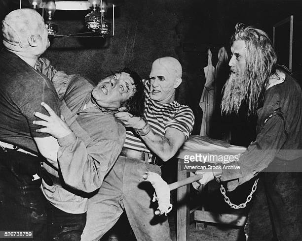 Film still of actors Lon Chaney Jr and John Carradine in a scene from the movie 'House of Dracula' 1945