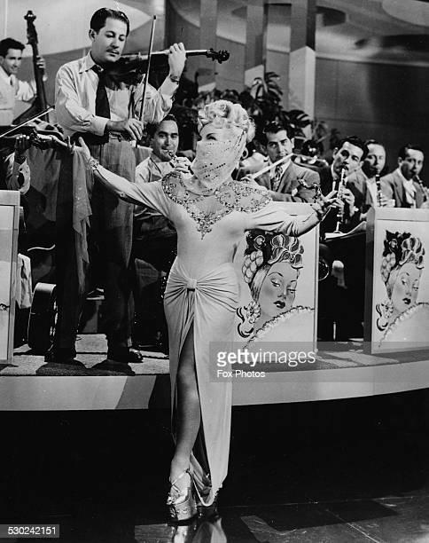 Film still of actress and singer Carmen Miranda in a scene from the film 'Copacabana' 1947