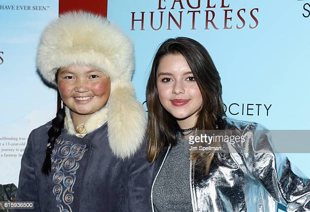 Film subject Aisholpan Nurgaiv and actress Fatima Ptacek attend the Screening of 'The Eagle Huntress' hosted by Sony Pictures Classics and The Cinema...