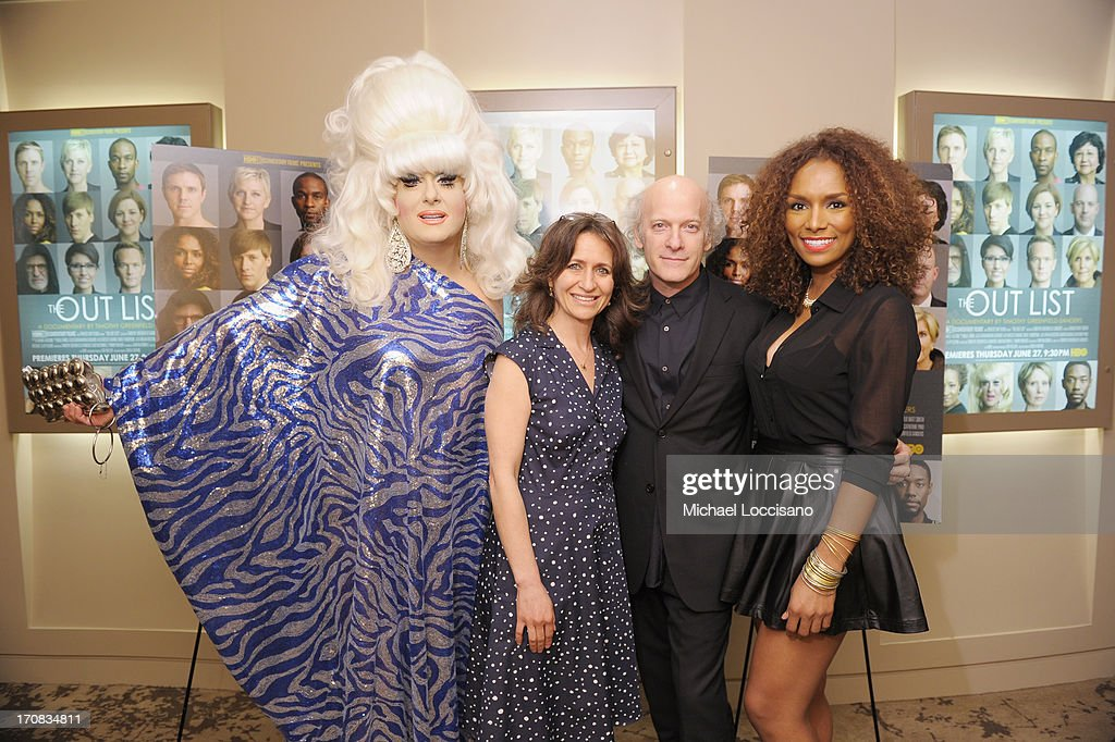 Film subject Lady Bunny SVP of HBO Documentary Films Lisa Heller filmmaker Timothy GreenfieldSanders and film subject Janet Mock attend the HBO...