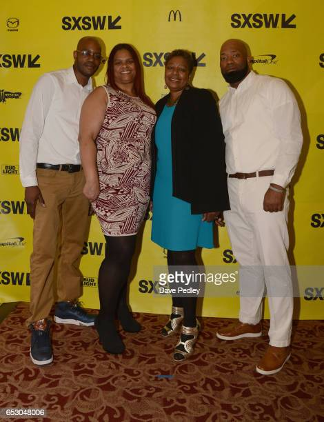 Film subjects Nate Hamilton Chantelle Forbes Maria Hamilton and Dameion Perkins attend the premiere of 'The Blood Is at the Doorstep' during 2017...