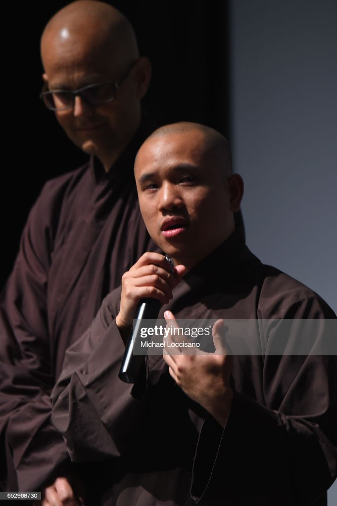 Film Subjects Phap Huu (R) and Phap Ho take part in the Q&A following the 'Walk With Me' premiere during 2017 SXSW Conference and Festivals at the ZACH Theatre on March 12, 2017 in Austin, Texas.