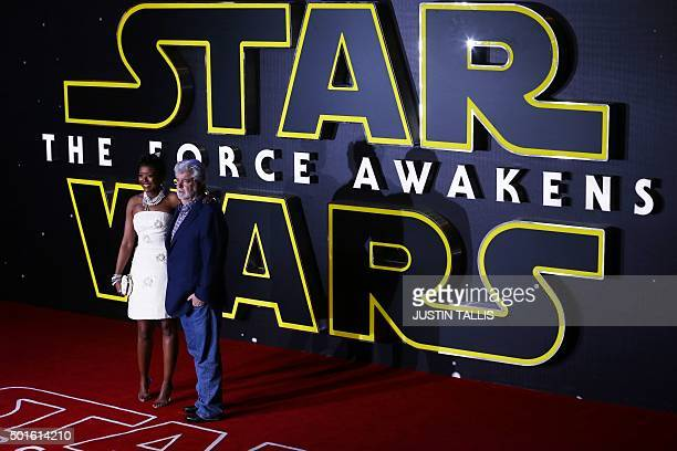 US filmaker George Lucas and Mellody Hobson attend the opening of the European Premiere of 'Star Wars The Force Awakens' in central London on...