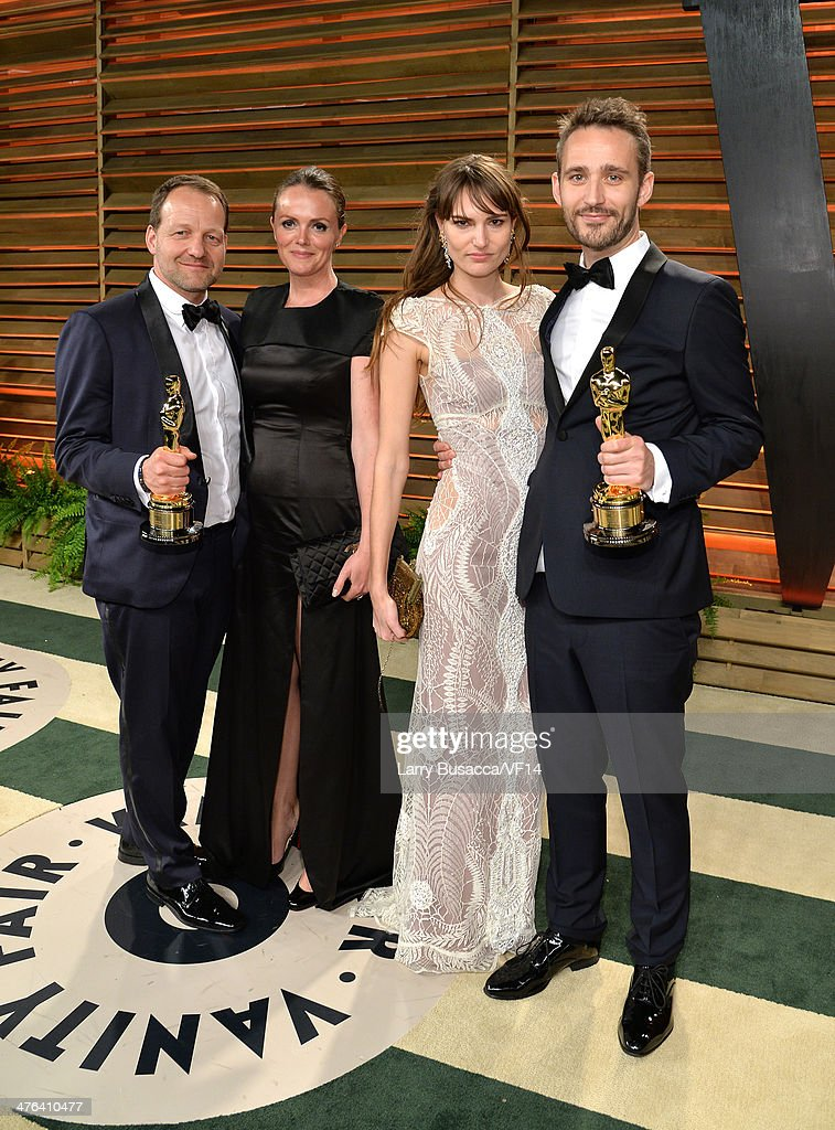 Filmakers Anders Walter (L) and Kim Magnusson, winners of Best Short Film, Live Action attend the 2014 Vanity Fair Oscar Party Hosted By Graydon Carter on March 2, 2014 in West Hollywood, California.