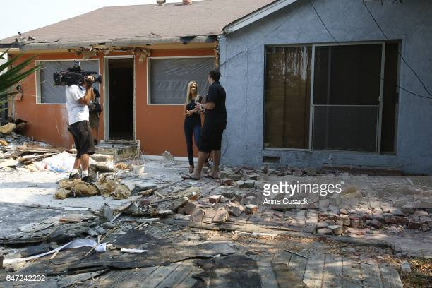 Filming of HGTV's 'Flip or Flop' reality TV show hosts Tarek El Moussa and his wife Christina El Moussa discuss what to do with this recently...