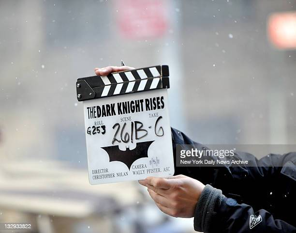 Filming of the Batman movie 'The Dark Knight Rises' at Wall Street Williams St NYC which is set to be released next summer set up shop downtown and...