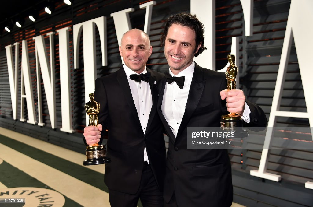 Filmmaker Alan Barillar (L) and Producer Marc Sondheimer attend the 2017 Vanity Fair Oscar Party hosted by Graydon Carter at Wallis Annenberg Center for the Performing Arts on February 26, 2017 in Beverly Hills, California.
