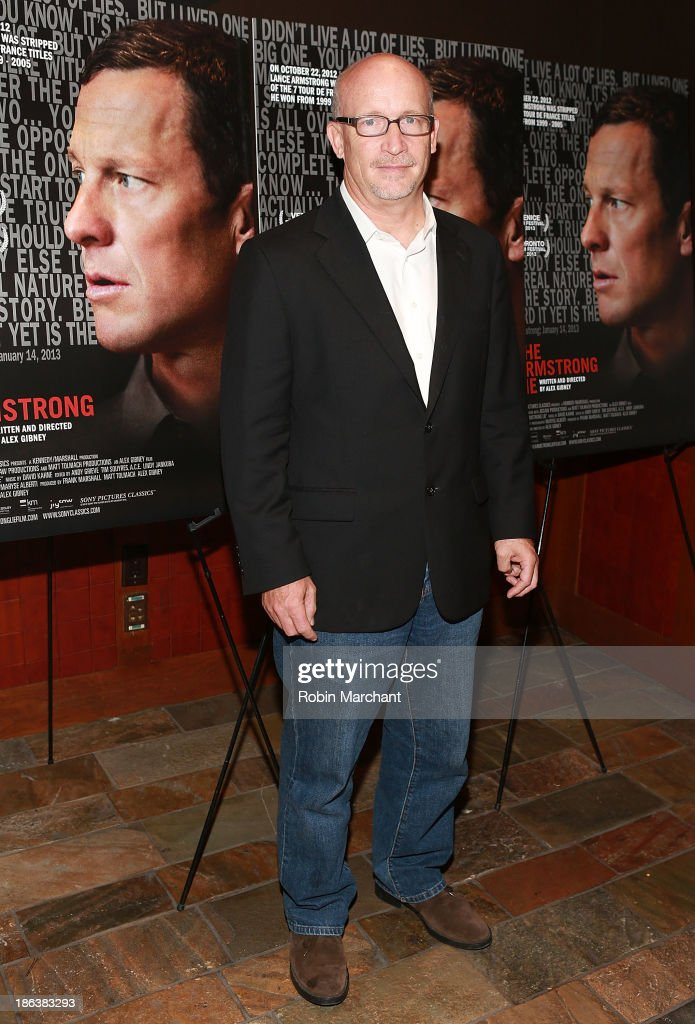 Filmmaker <a gi-track='captionPersonalityLinkClicked' href=/galleries/search?phrase=Alex+Gibney&family=editorial&specificpeople=844225 ng-click='$event.stopPropagation()'>Alex Gibney</a> attends 'The Armstrong Lie' New York premiere at Tribeca Grand Hotel on October 30, 2013 in New York City.