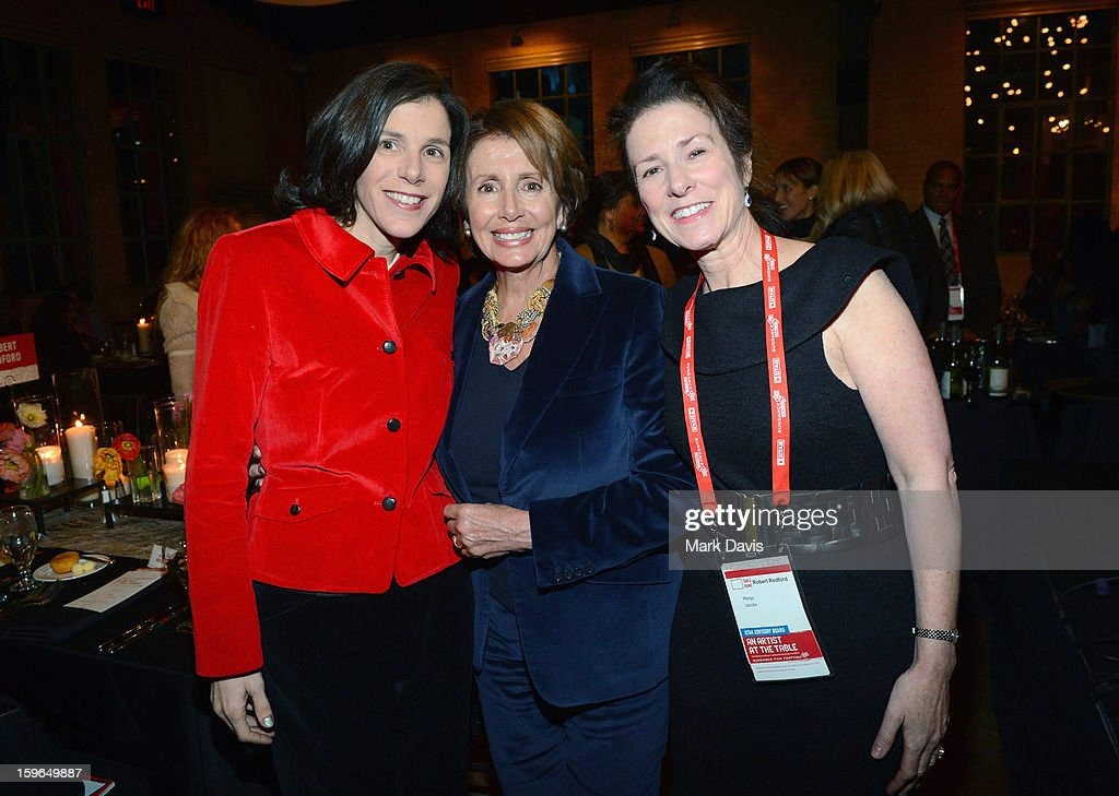 Filmmaker <a gi-track='captionPersonalityLinkClicked' href=/galleries/search?phrase=Alexandra+Pelosi&family=editorial&specificpeople=234453 ng-click='$event.stopPropagation()'>Alexandra Pelosi</a>, Minority Leader of the United States House of Representatives <a gi-track='captionPersonalityLinkClicked' href=/galleries/search?phrase=Nancy+Pelosi&family=editorial&specificpeople=169883 ng-click='$event.stopPropagation()'>Nancy Pelosi</a> and Margo Jacobs attend An Artist At The Dinner Table: Dinner Program during the 2013 Sundance Film Festival at The Shop on January 17, 2013 in Park City, Utah.