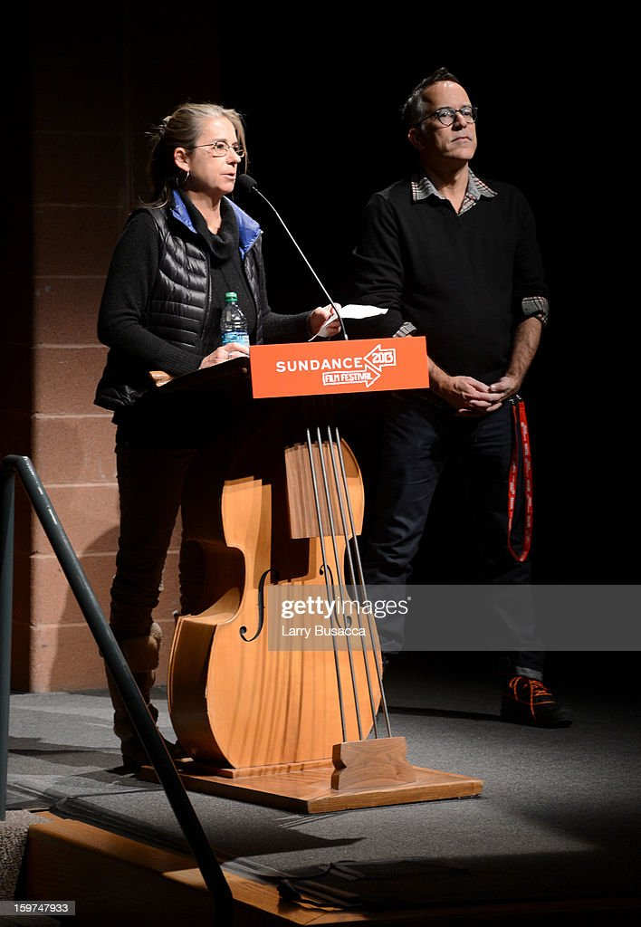 Filmmaker Alison Ellwood (L) and Sundance Festival Director John Cooper speak onstage at the 'History of the Eagles Part 1' premiere and Q&A during the 2013 Sundance Film Festival at Eccles Theater on January 19, 2013 in Park City, Utah.