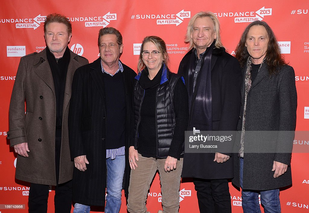 Filmmaker Alison Ellwood (C) poses with (L-R) musicians <a gi-track='captionPersonalityLinkClicked' href=/galleries/search?phrase=Don+Henley&family=editorial&specificpeople=216382 ng-click='$event.stopPropagation()'>Don Henley</a>, <a gi-track='captionPersonalityLinkClicked' href=/galleries/search?phrase=Glenn+Frey&family=editorial&specificpeople=223995 ng-click='$event.stopPropagation()'>Glenn Frey</a>, <a gi-track='captionPersonalityLinkClicked' href=/galleries/search?phrase=Joe+Walsh+-+Singer&family=editorial&specificpeople=223888 ng-click='$event.stopPropagation()'>Joe Walsh</a> and <a gi-track='captionPersonalityLinkClicked' href=/galleries/search?phrase=Timothy+B.+Schmit&family=editorial&specificpeople=564214 ng-click='$event.stopPropagation()'>Timothy B. Schmit</a> of The Eagles at the 'History of the Eagles Part 1' premiere and Q&A during the 2013 Sundance Film Festival at Eccles Theater on January 19, 2013 in Park City, Utah.