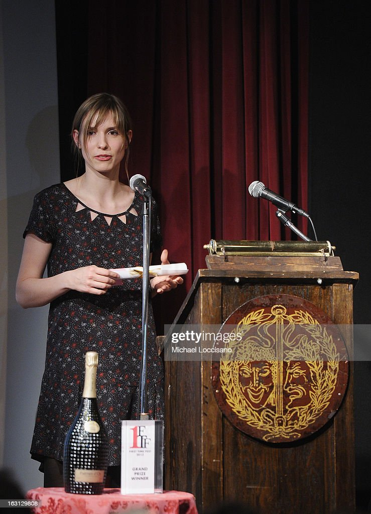 Filmmaker Amelie von Elmbt accepts an award during the 2013 First Time Fest closing night awards at The Players Club on March 4, 2013 in New York City.