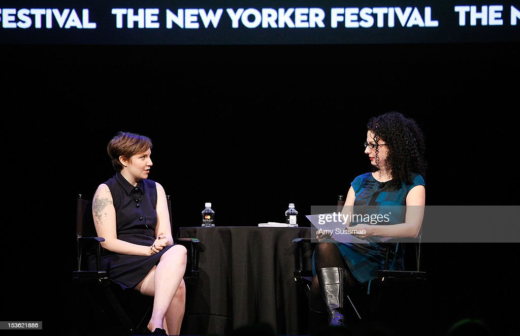 Filmmaker and actress Lena Dunham speaks with moderator Emily Nussbaum at In Coversation: Girl Power for The New Yorker Festival at Acura at SIR Stage37 on October 7, 2012 in New York City.