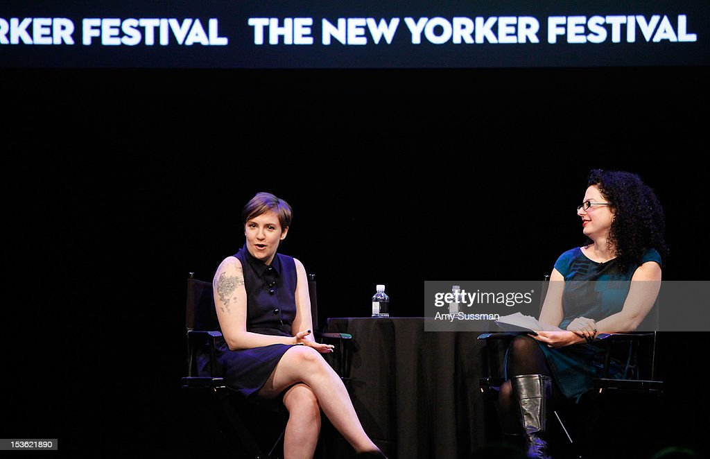 Filmmaker and actress <a gi-track='captionPersonalityLinkClicked' href=/galleries/search?phrase=Lena+Dunham&family=editorial&specificpeople=5836535 ng-click='$event.stopPropagation()'>Lena Dunham</a> speaks with moderator Emily Nussbaum at In Coversation: Girl Power for The New Yorker Festival at Acura at SIR Stage37 on October 7, 2012 in New York City.