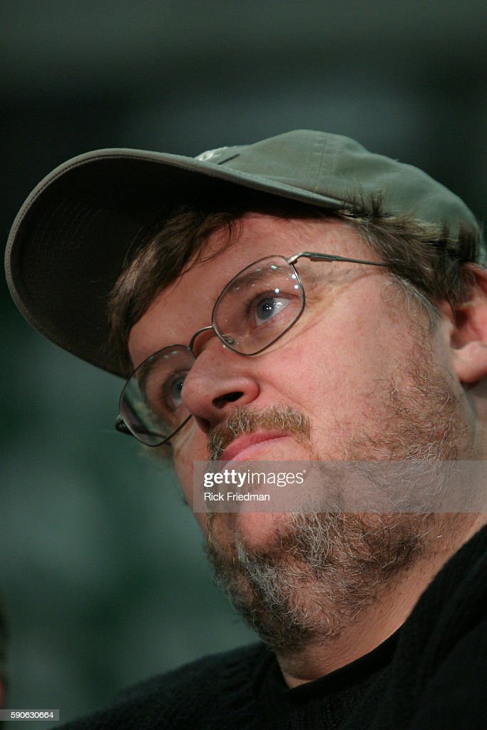 Filmmaker and author Michael Moore attends a rally for Democratic presidential hopeful former General Wesley Clark at Pembroke Academy Moore endorsed...