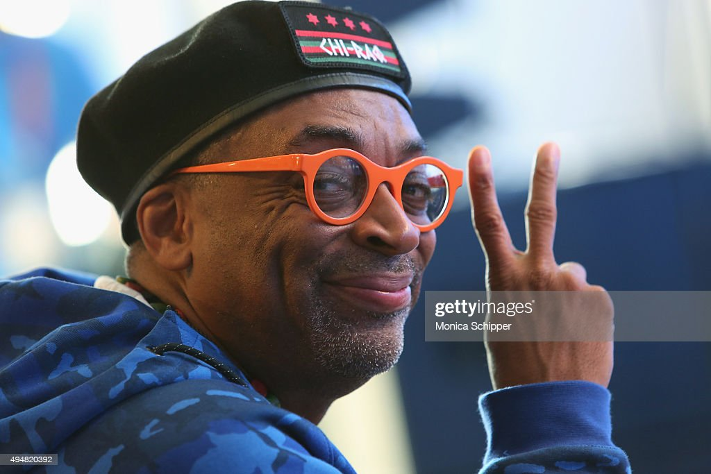 Filmmaker and Grand Marshal of the New York City Marathon <a gi-track='captionPersonalityLinkClicked' href=/galleries/search?phrase=Spike+Lee&family=editorial&specificpeople=156419 ng-click='$event.stopPropagation()'>Spike Lee</a>, attends the 2015 TCS New York City Marathon Opening Press Conference & Blue Line Painting Ceremony at Central Park on October 29, 2015 in New York City.