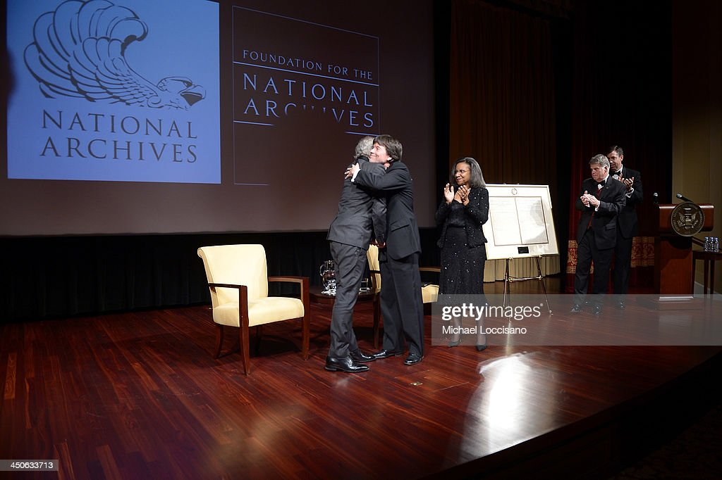 Filmmaker and honoree Steven Spielberg, Foundation for the National Archives Board Vice President and Gala Chair Ken Burns, Foundation for the National Archives Chair and President A'Lelia Bundles, Archivist of the United States The Honorable David S. Ferriero, and Executive Director of the Foundation for the National Archives Patrick Madden appear onstage with facsimile versions of the 'two 13th Amendments' at the Foundation for the National Archives 2013 Records of Achievement award ceremony and gala in honor of Steven Spielberg on November 19, 2013 in Washington, D.C.