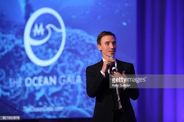 Filmmaker and underwater photographer Rob Stewart speaks onstage at The Ocean Gala on December 3 2016 in San Francisco California