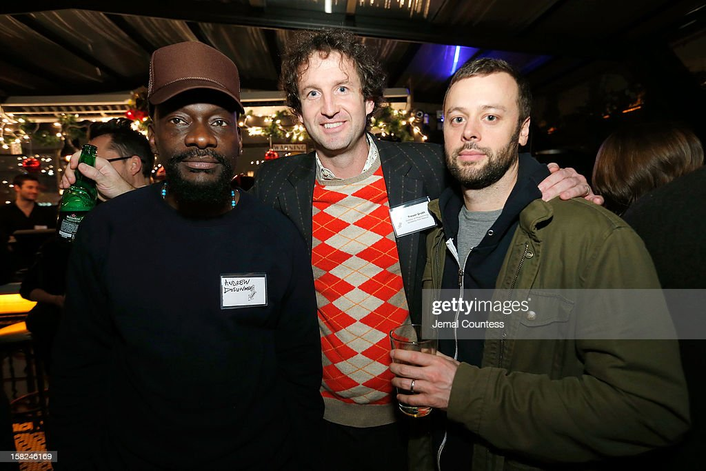 Filmmaker Andrew Dosunmu, Sundance Film Festival Director of programming <a gi-track='captionPersonalityLinkClicked' href=/galleries/search?phrase=Trevor+Groth&family=editorial&specificpeople=561179 ng-click='$event.stopPropagation()'>Trevor Groth</a> and <a gi-track='captionPersonalityLinkClicked' href=/galleries/search?phrase=Lars+Knudsen&family=editorial&specificpeople=4164904 ng-click='$event.stopPropagation()'>Lars Knudsen</a> attend the 2012 Sundance Film Festival Filmmaker Orientation at Hotel Chantelle on December 11, 2012 in New York City.
