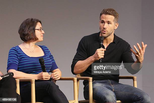 Filmmaker Anna Boden and actor Ryan Reynolds attend Apple Store Soho Presents Meet The Actor Ryan Reynolds 'Mississippi Grind' at Apple Store Soho on...