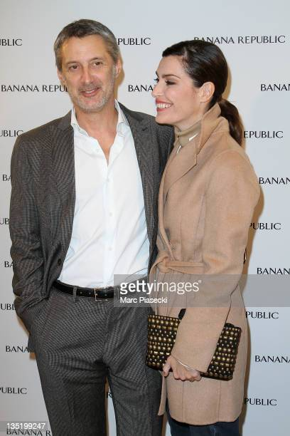 Filmmaker Antoine de Caunes and his wife Daphne Roulier attend the Banana Republic ChampsElysees Flagship Opening photocall on December 7 2011 in...
