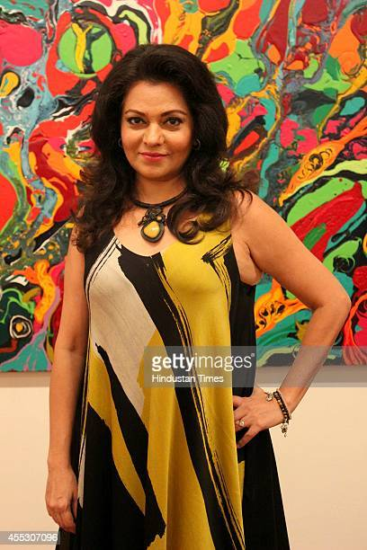 Filmmaker Anu Malhotra during her debut art show Hue Borne at Visual Arts Gallery India Habitat Centre on September 2 2014 in New Delhi India