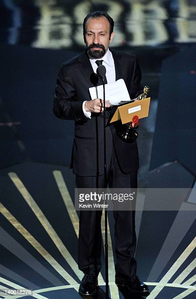 Filmmaker Asghar Farhadi winner of the Best Foreign Film Award for 'A Separation' speaks onstage during the 84th Annual Academy Awards held at the...