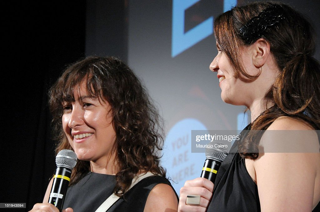 Filmmaker Athina Rachel Tsangari (L) and TIFF Programmer Andrea Picard speak onstage at the 'The Capsule' premiere during the 2012 Toronto International Film Festival at TIFF Bell Lightbox on September 12, 2012 in Toronto, Canada.