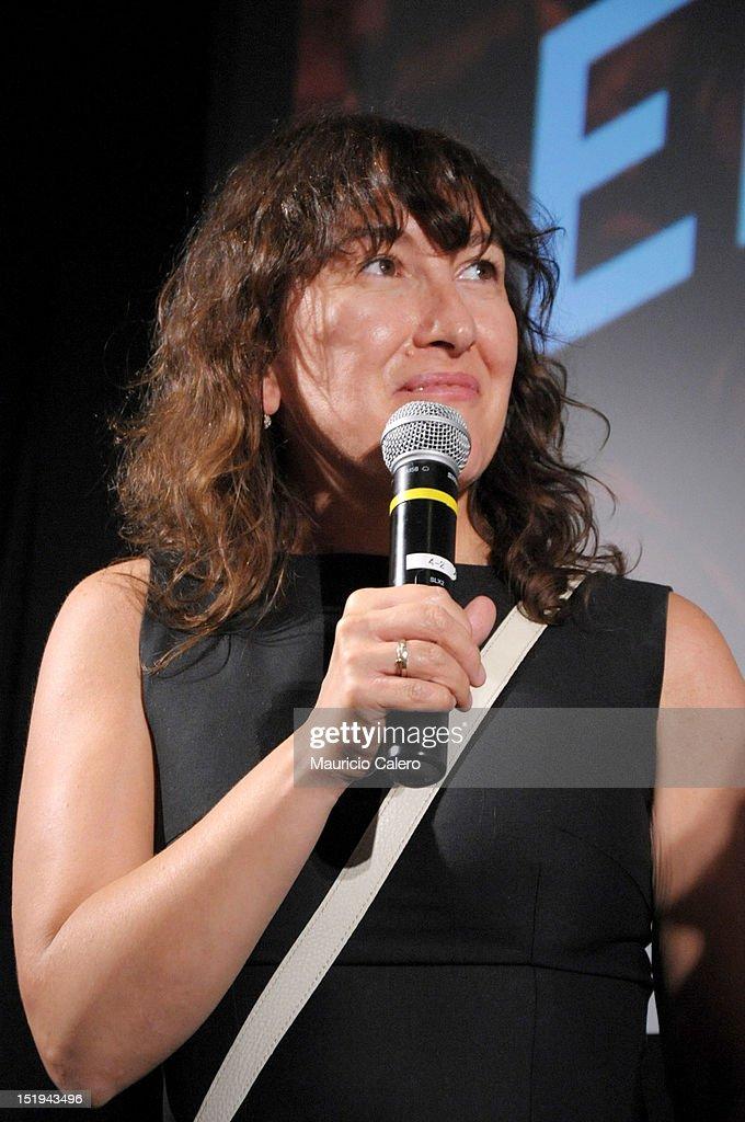 Filmmaker Athina Rachel Tsangari speaks onstage at the 'The Capsule' premiere during the 2012 Toronto International Film Festival at TIFF Bell Lightbox on September 12, 2012 in Toronto, Canada.
