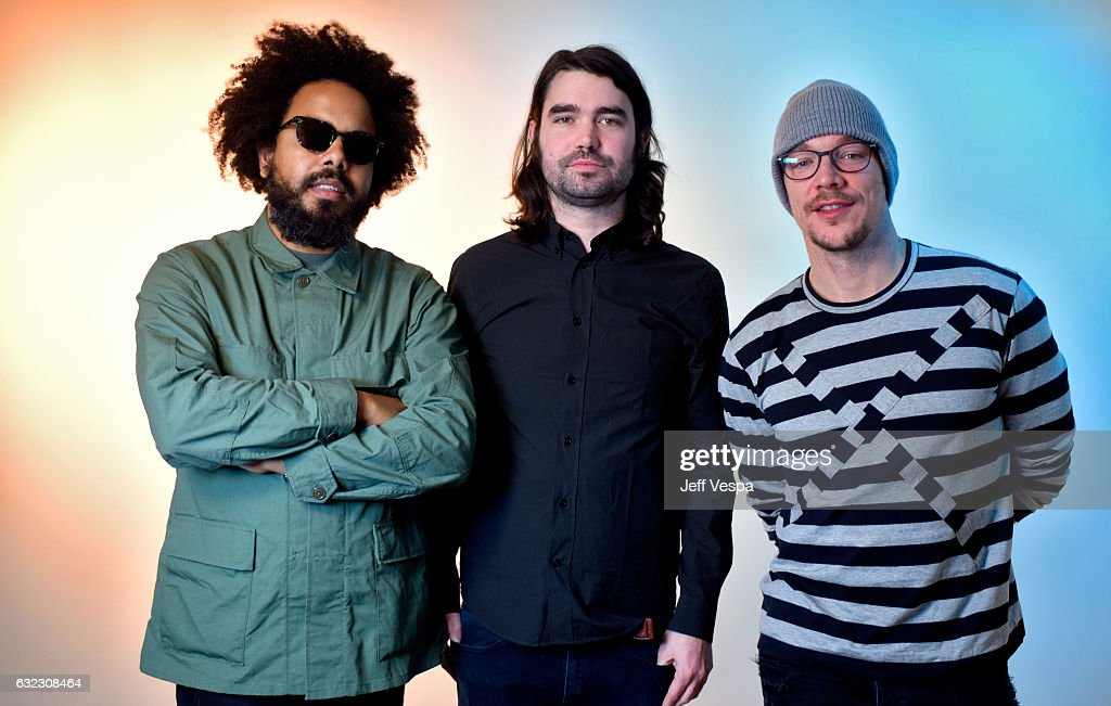 Filmmaker Austin Peters (C) with Jillionaire (L) and Diplo (R) of Major Lazer from the film 'Give Me Future' pose for a portrait in the WireImage Portrait Studio presented by DIRECTV during the 2017 Sundance Film Festival on January 21, 2017 in Park City, Utah.