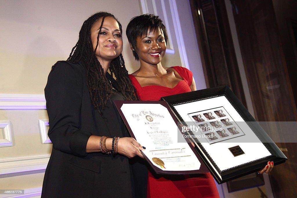 Filmmaker Ava DuVernay and actress Emayatzy Corinealdi attend the 5th Annual African American Film Critics Association Awards at Taglyan Cultural...