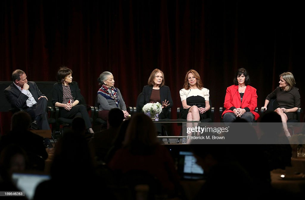 Filmmaker Barak Goodman, Executive producer Betsy West, Aileen Clarke Hernandez of the National Organization for Women, Political Activist Gloria Steinem, actress/activist Marlo Thomas, One of the first woman coal miners Barbara Burns, and Executive Producer Dyllan McGee of the television show Makers: Women Who Make America' speak onstage during the PBS Portion- Day 2 of the 2013 Winter Television Critics Association Press Tour at Langham Hotel on January 15, 2013 in Pasadena, California.