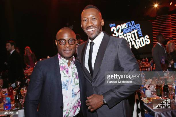 Filmmaker Barry Jenkins and actor Mahershala Ali pose during the 2017 Film Independent Spirit Awards at the Santa Monica Pier on February 25 2017 in...