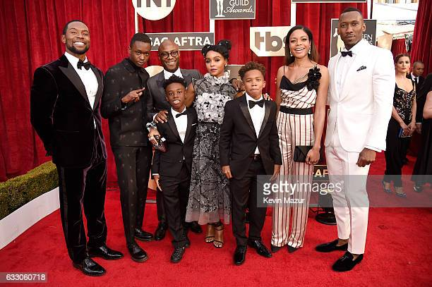 Filmmaker Barry Jenkins with the cast of 'Moonlight' attend The 23rd Annual Screen Actors Guild Awards at The Shrine Auditorium on January 29 2017 in...