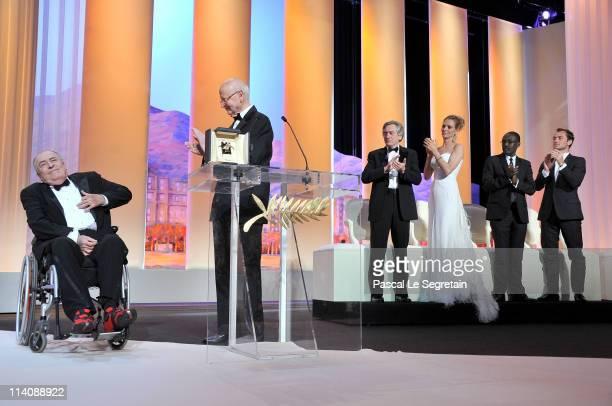 Filmmaker Bernardo Bertolucci President of the Cannes Film Festival Gilles Jacob Jury members Robert De Niro Uma Thurman MahamatSaleh Haroun and Jude...